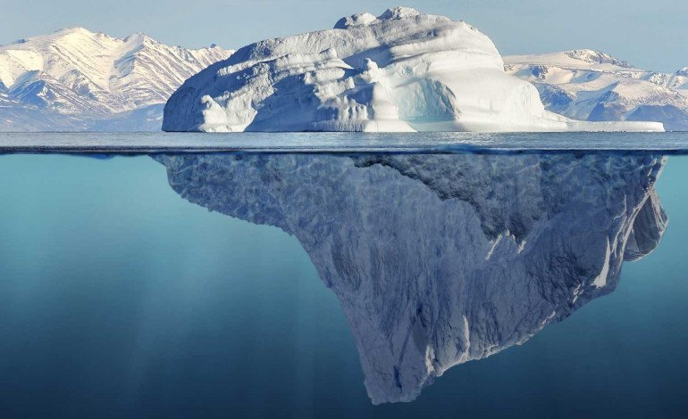 Iceberg with most of it submerged showing you can find more under the surface using our consulting services and voice of the customer methods